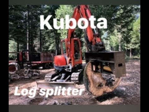 BADA$$ invention!!HOMEMADE WOOD SPLITTER ON EXCAVATOR KUBOTA KX 161-3