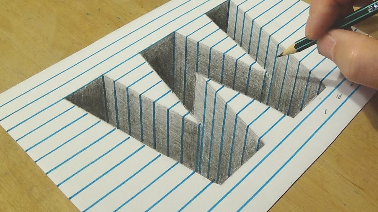 optical illusion letter paper line pencil drawing hole drawings 3d letters easy graphite pen
