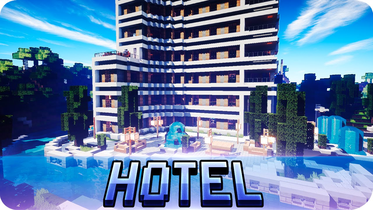 minecraft - modern hotel house tour - full of interior design
