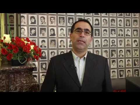 Journalist Rassoul Asghari at the commemoration of 1988 Iranian prison massacre
