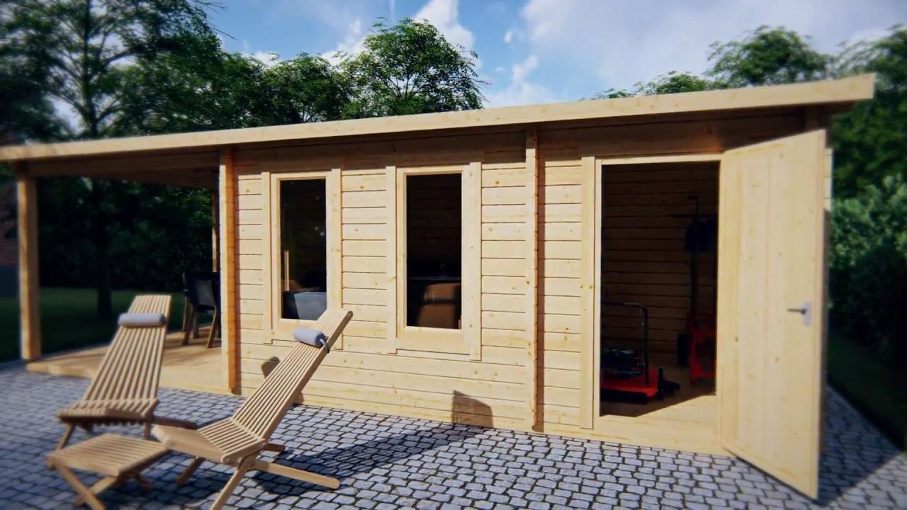 gartenhaus super nora e mit terrasse und schuppen 15 m2 8 x 3 m 44 mm youtube. Black Bedroom Furniture Sets. Home Design Ideas