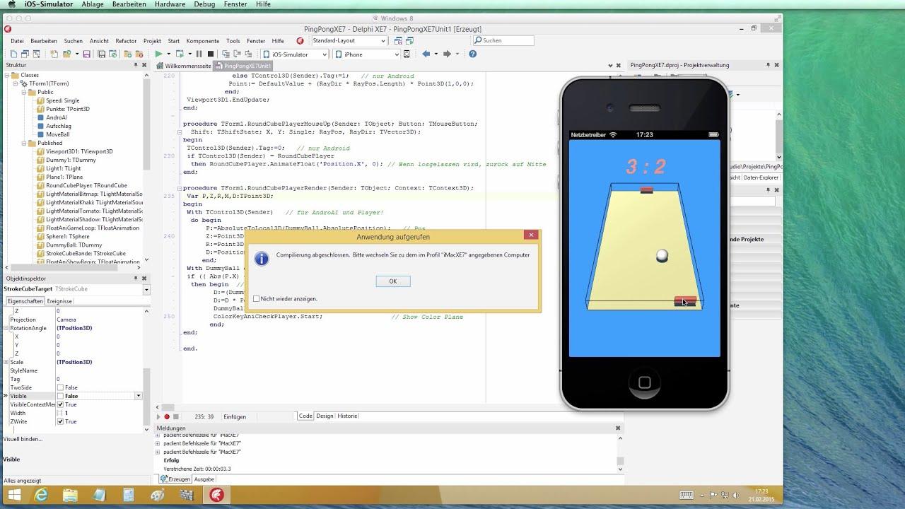 tutorial 3d pingpong game in firemonkey xe7 delphi xe7