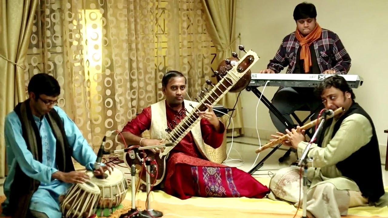 Classical Fusion Instrumental | Sitar, Tabla, Flute, Keyboard | Raga  Madhuvanti | Ateetam