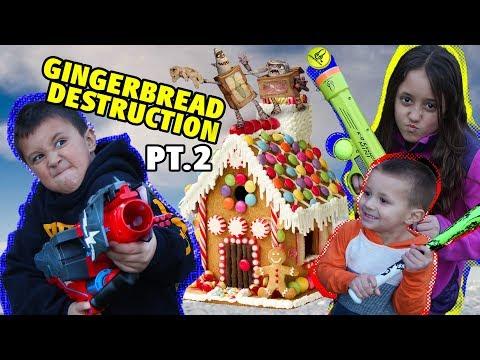 Gingerbread House Destruction Pt  2! W  BOX TROLLS By Skylander Boy And Girl W  Lightcore Chase