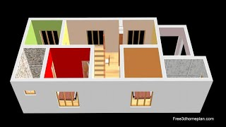 6x14 Metres Small House Design Plan For 13 Lac 2 Bedrooms American Kitchen With Parking  2020