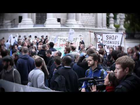 Electricians Protest and Block the Streets at Tate Modern London - FRFI NEWS 12 October 2011