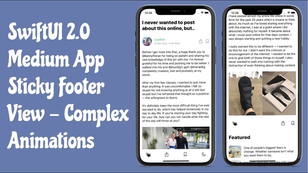 SwiftUI 2.0 Medium App Sticky Footer View - Complex Animations