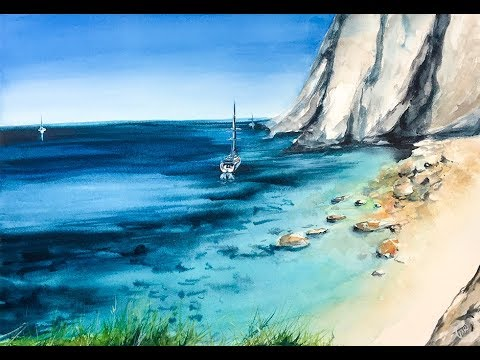 Greek Island in Watercolors Painting Tutorial Ελλάδα σε υδατογραφίες