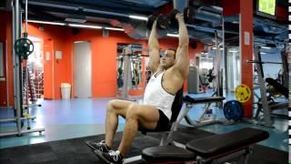 видео Жим в хаммере на плечи и грудные мышцы, сидя и лежа