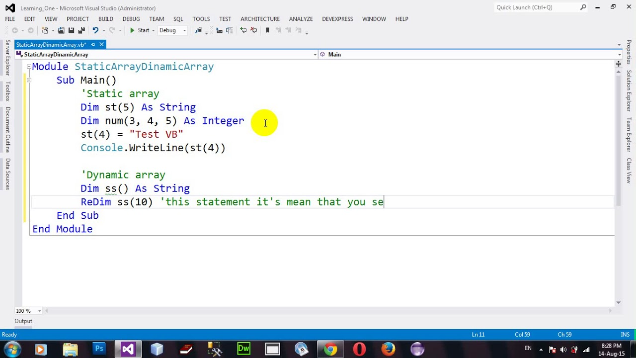 How to Arrays and Dynamic Arrays in VB NET 2012