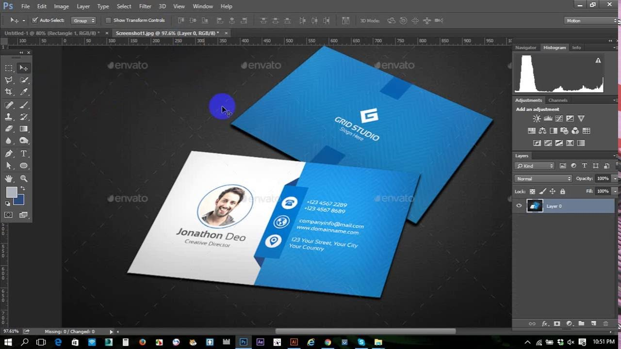 Clean modern business card adobe photoshop professional business clean modern business card adobe photoshop professional business card printing business card youtube reheart Images