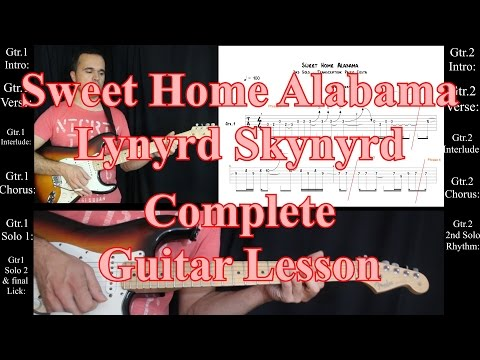 Sweet Home Alabama, Lynyrd Skynyrd ACCURATE COMPLETE TAB & Guitar Lesson, Tutorial, Solos