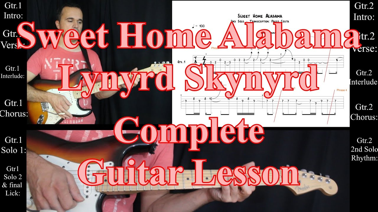 sweet home alabama lynyrd skynyrd complete tab guitar lesson tutorial solos youtube. Black Bedroom Furniture Sets. Home Design Ideas