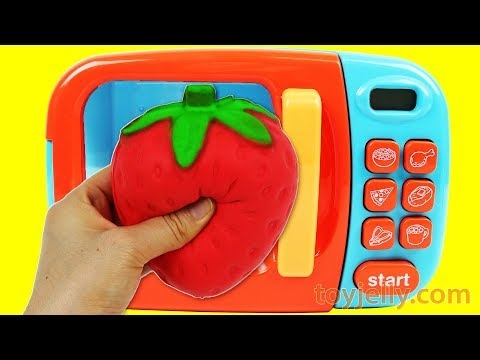 Microwave Just Like Home Squishy Cutting Fruit Strawberry Lemon Ice Cream Cake Learn Colors Slime