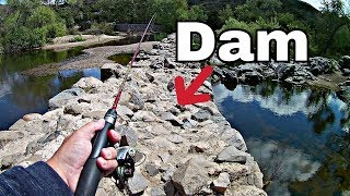 Fishing an old dam made by Native Americans (mission dam)