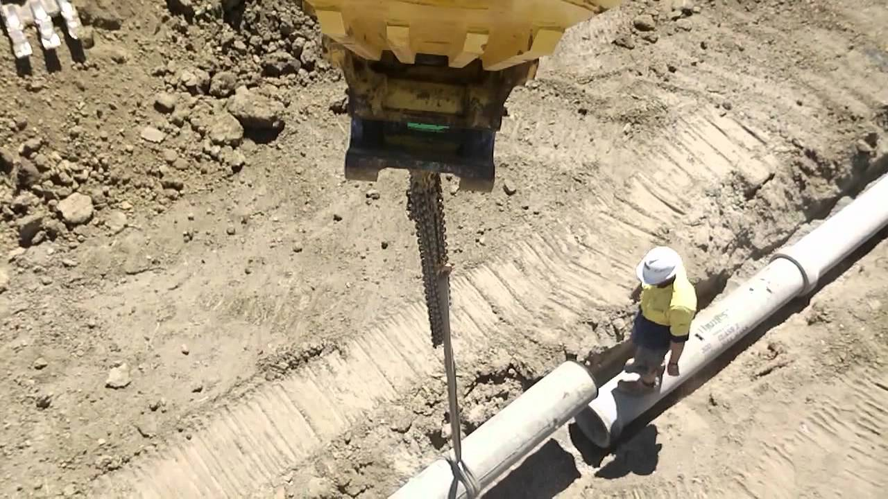 Over head view of laying 300mm (1 ft ) concrete storm ...