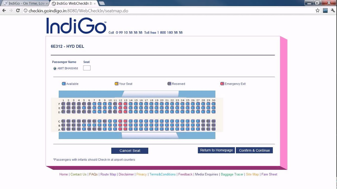 How To Do Web Check In Amp Allocate Flight Seats On Goindigo Flights Online Youtube