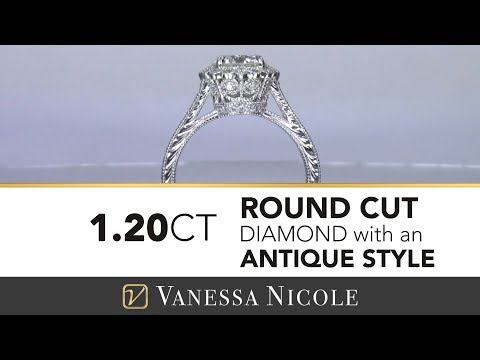 VINTAGE ENGAGEMENT RING: Vintage Style Diamond Ring-Vanessa Nicole Jewels