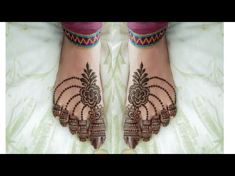Easy Leg Mehndi Design For Karwa Chauth ! Simple Feet Mehendi Design ! thumbnail