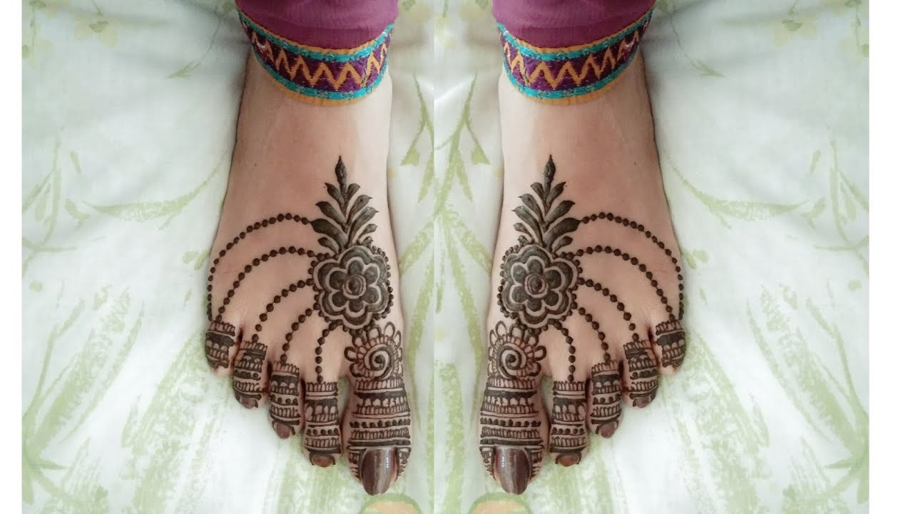 Easy Leg Mehndi Design For Karwa Chauth ! Simple Feet Mehendi Design !