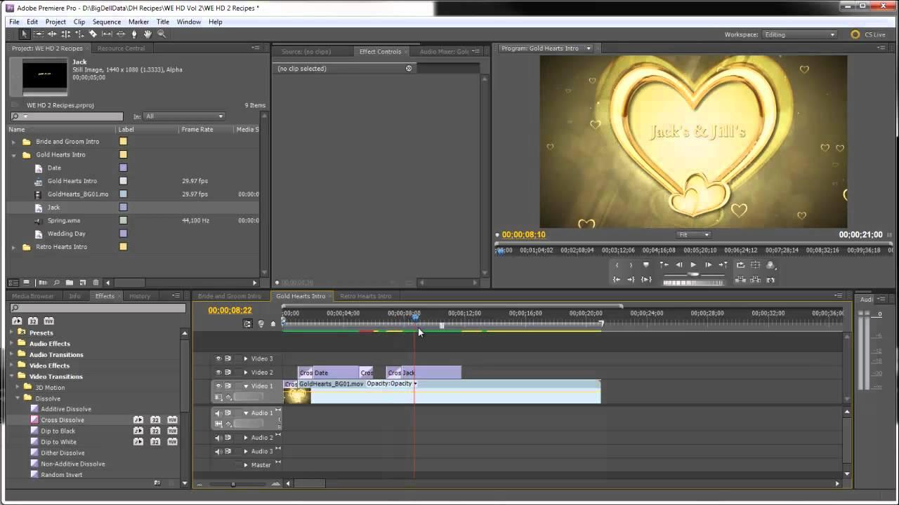 Wedding Video Intro Idea for Premiere Pro Gold Hearts 3d