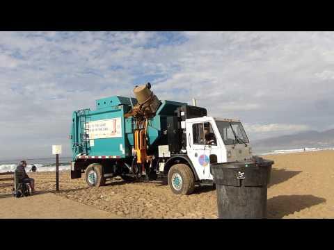 "Santa Monica's ""Labpac"" Garbage Truck on the Beach"