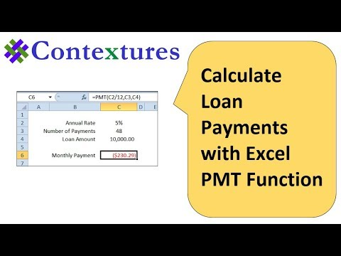 How to Calculate Loan Payments with Excel PMT Function - YouTube