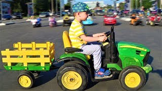 Cars for kids, Max is riding in a car a big car and a tractor videos about cars