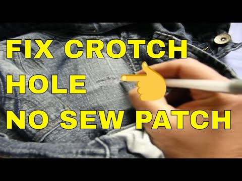 FIXING CROTCH PANT HOLE NO SEW METHOD ALMOST LIKE NEW YouTube Awesome How To Patch Jeans Without A Sewing Machine