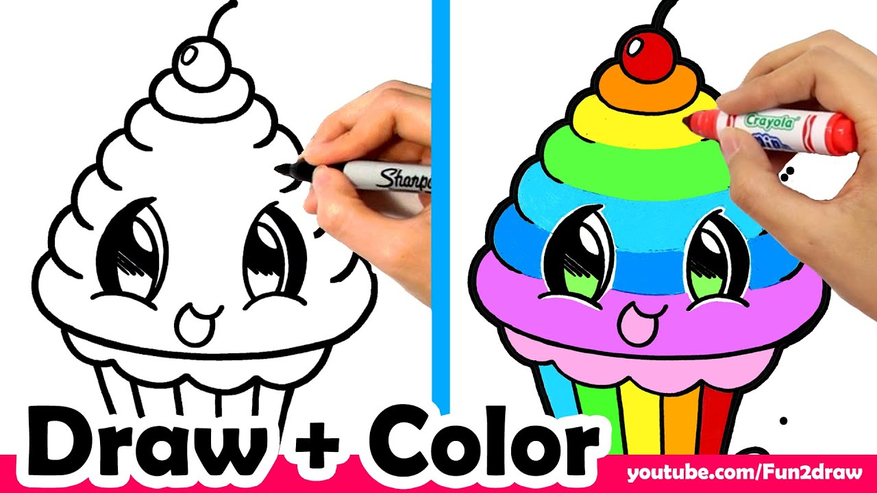 How To Draw A Rainbow Cupcake Cute Easy