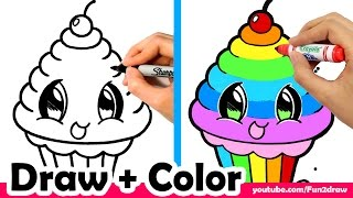 How to Draw a Rainbow Cupcake Cute + Easy