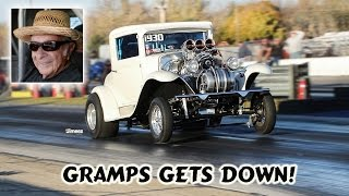 BADASS GRANDPA! 74 YR OLD! 540 BBC BLOWN INJECTED ALKY '30 CHEVY! STREET LEGAL! BYRON DRAGWAY!