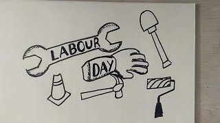HAPPY LABOUR DAY Cartoon Coloring Drawing For Kids || Stop Child Labour Poster Step By Step ||