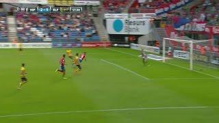 Läcker språngnick från Jordan Larsson ger HIF 2-1 - skadar sig i firandet - TV4 Sport