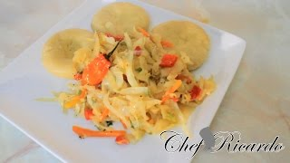 Salt Fish And Cabbage Served With Dumpling From Chef Ricardo Cooking