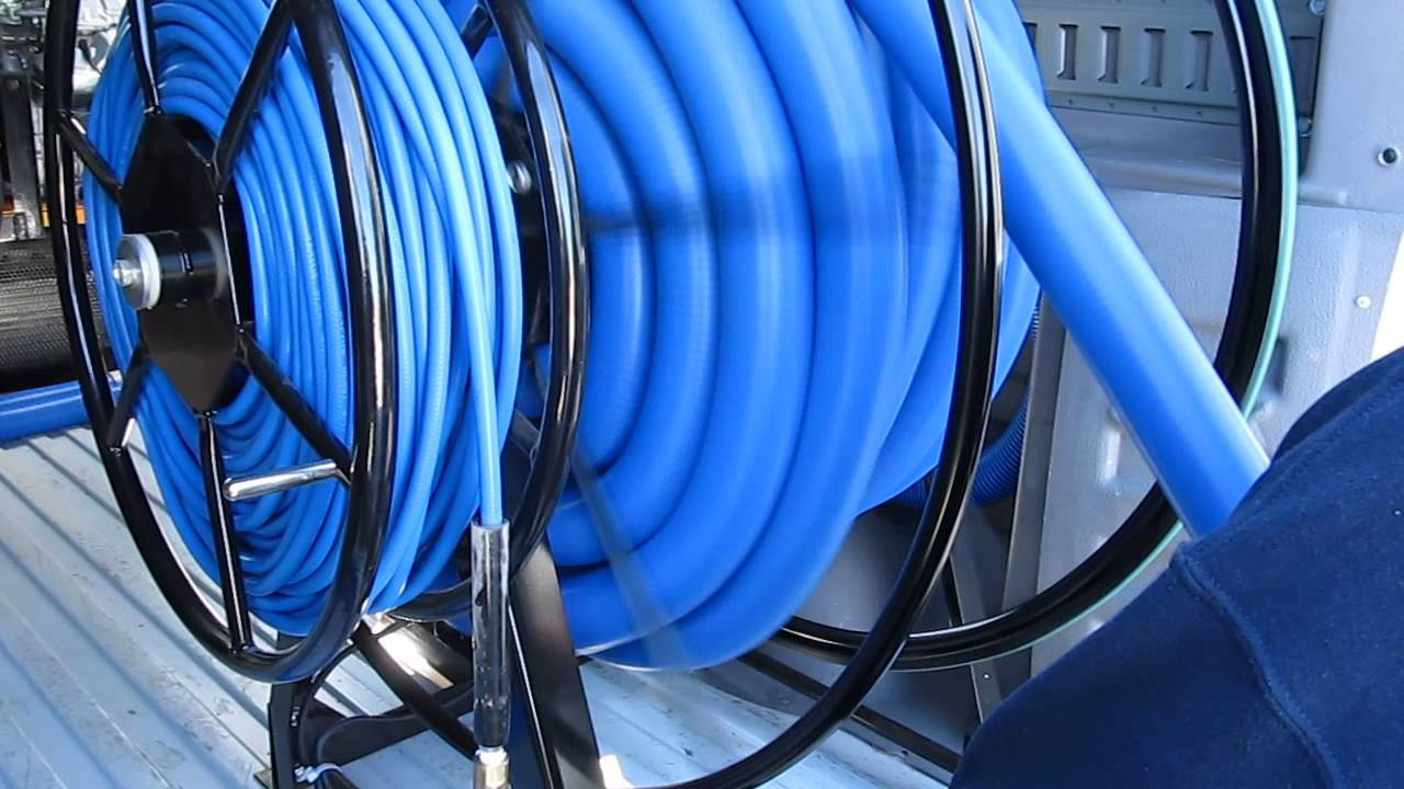 12 volt truckmount electric vacuum hose reel youtube for 12 volt hose reel motor