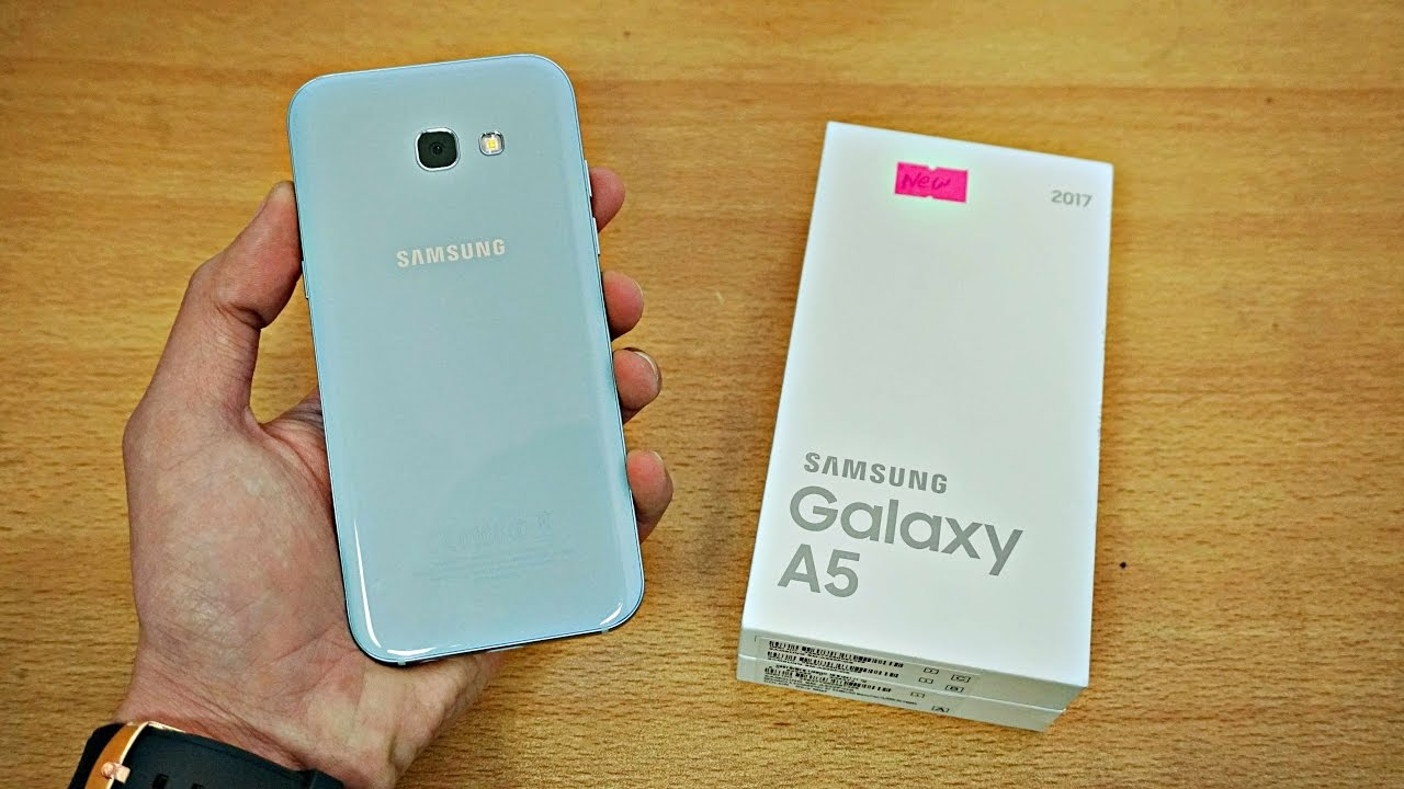 samsung galaxy a5 2017 blue unboxing first look 4k. Black Bedroom Furniture Sets. Home Design Ideas