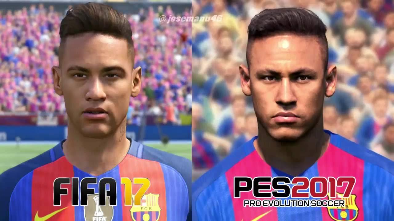 FIFA 17 Vs PES 2017 BARCELONA FACE COMPARISON Messi Suarez Neymar Pique