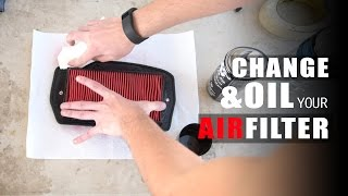 How to Change and Oil Motorcycle Air Filter  2004-2009 Yamaha FZ6 quotFazerquot