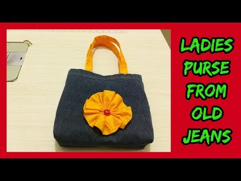 diy ladies purse from old jeans-[recycle] -|hindi|