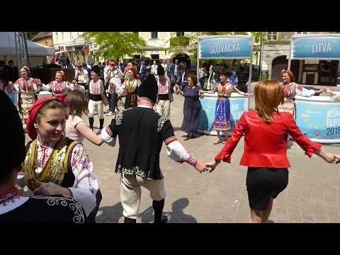 "Bulgarian Horo Dance with Folklore Ensemble ""Pirin"" and visitors in Zagreb, Croatia 2018"