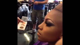 Recording artist Saskya SKY in make up with award winning make-up Guru Gabriel Noda Owner of Gabr...