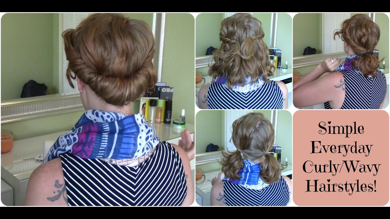 Simple Everyday Hairstyles For Curlywavy Hair Youtube