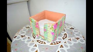 Idea con una caja de cartón. Tubitos de papel. Home Decor. Diy.