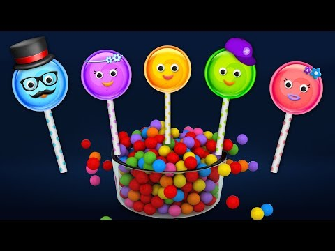 Lollipop Finger Family Song with Surprise Eggs and Color Balls | Daddy Finger Rhyme
