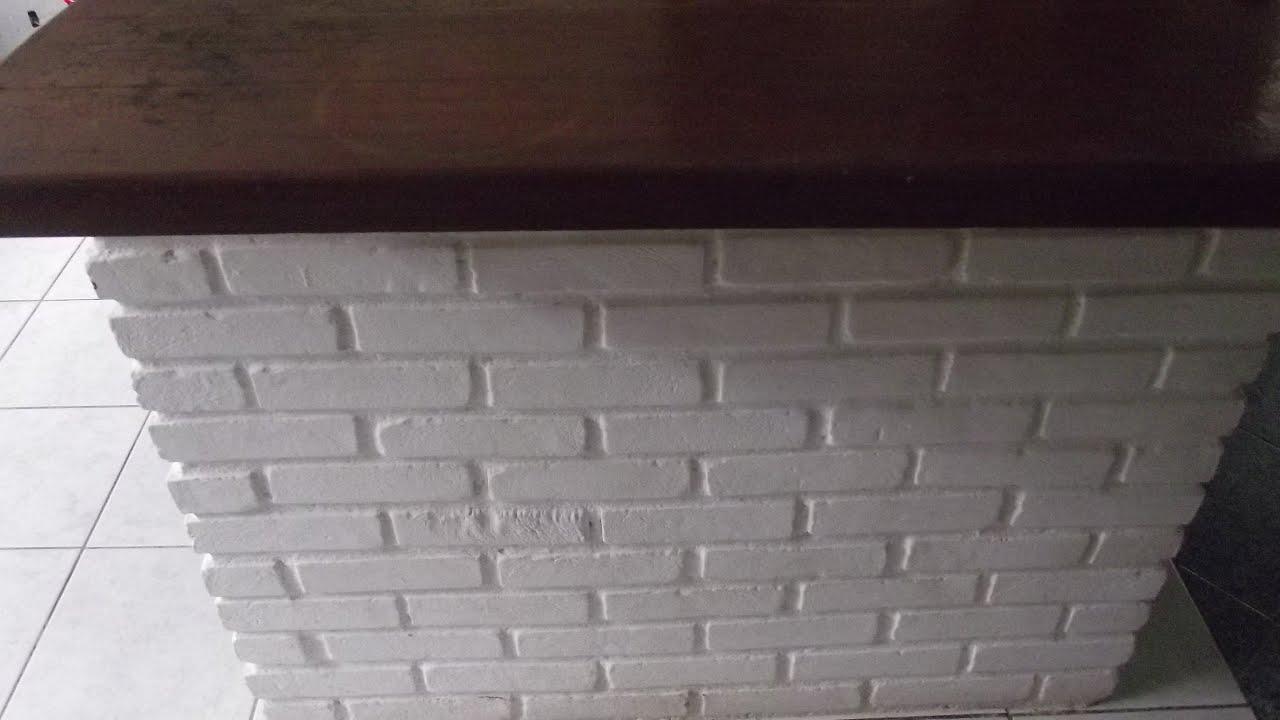 Balcão de madeira e tijolinhos na Cozinha   #322524 3072x1728 Banheiro Americano