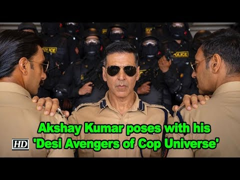 Akshay Kumar poses with his 'Desi Avengers of Cop Universe' Mp3