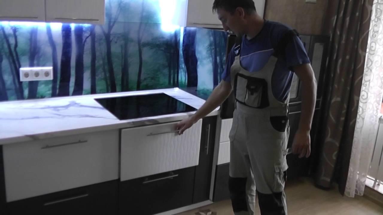 Как и чем крепить стекло к дверце кухни - YouTube