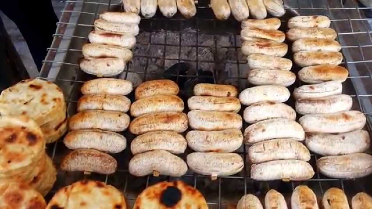 Asian Street Food - Banana & Cassava Barbecue - Street ...