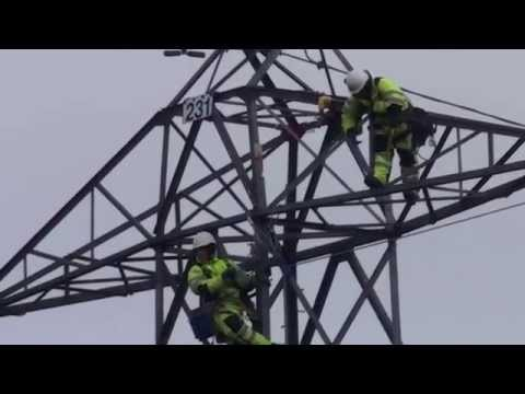 Power Lines - replacement of conductors on 400 kV ZX line at Docker, near Kendal, Cumbria